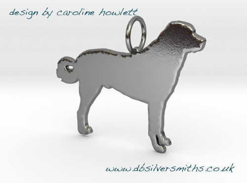 Anatolian/ Karabash curly tail dog pendant sterling silver handmade by saw piercing Caroline Howlett Design